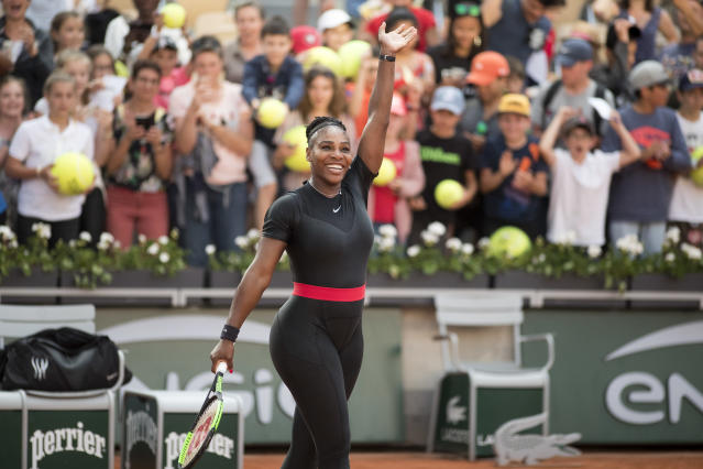 "<a class=""link rapid-noclick-resp"" href=""/olympics/rio-2016/a/1132744/"" data-ylk=""slk:Serena Williams"">Serena Williams</a> greets the crowd at Roland Garros for this year's French Open. (Getty Images)"