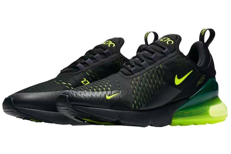 """<p><a href=""""https://www.nike.com/launch/t/air-max-270-volt-black-oil-grey/"""" rel=""""nofollow noopener"""" target=""""_blank"""" data-ylk=""""slk:SHOP"""" class=""""link rapid-noclick-resp"""">SHOP</a> <em>$150, <a href=""""https://www.nike.com/launch/t/air-max-270-volt-black-oil-grey/"""" rel=""""nofollow noopener"""" target=""""_blank"""" data-ylk=""""slk:nike.com"""" class=""""link rapid-noclick-resp"""">nike.com</a></em></p><p>More digestible than the Forces, the Air Max 270 also appears this week in a Volt colorway. The 270 Air bubble at the heel features the bright greenish yellow Nike calls """"Volt,"""" with the rest of the sneaker is shaded by black. What's unique about the 270 is that Nike is able to layer different materials to allow different colors to shine through. You'll notice that there's an entire layer of volt material under the top layer of black mesh, allowing the volt to peek through. The deep contrast between the two colors makes for a look that's as sophisticated as it is sporty. The 270 is quickly becoming one of our favorite gym-to-street sneakers, and this colorway is a great example why.</p><p><strong>Release:</strong> 11/10</p>"""