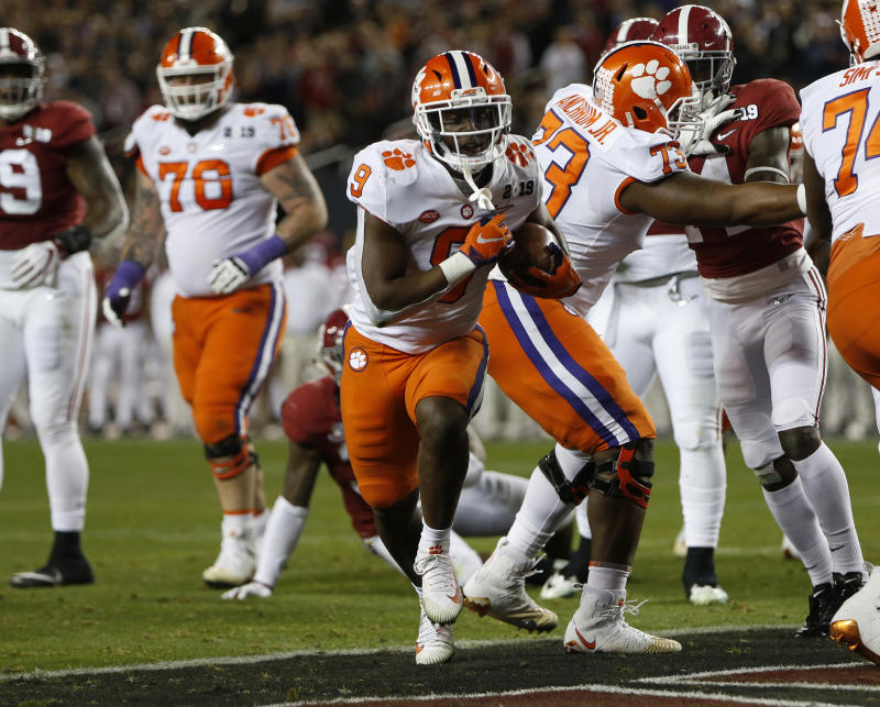 SANTA CLARA, CA - JANUARY 7: Clemson's Travis Etienne (9) scores a touchdown against Alabama in the second quarter for the College Football Playoff National Championship at Levi's Stadium in Santa Clara, Calif., on Monday, Jan. 7, 2019 (Photo by Nhat V. Meyer/MediaNews Group/The Mercury News via Getty Images)