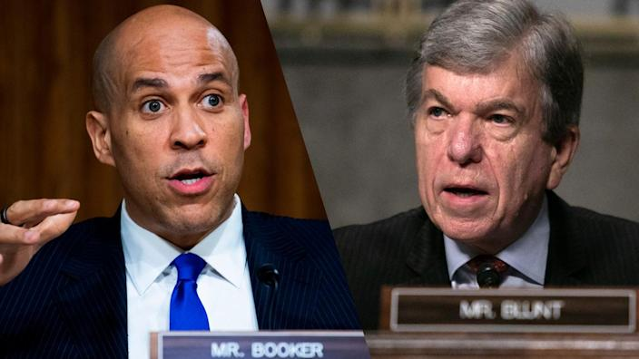 Sens. Cory Booker and Roy Blunt. (Tom Williams/AFP via Getty Images, Graeme Jennings-Pool/Getty Images)