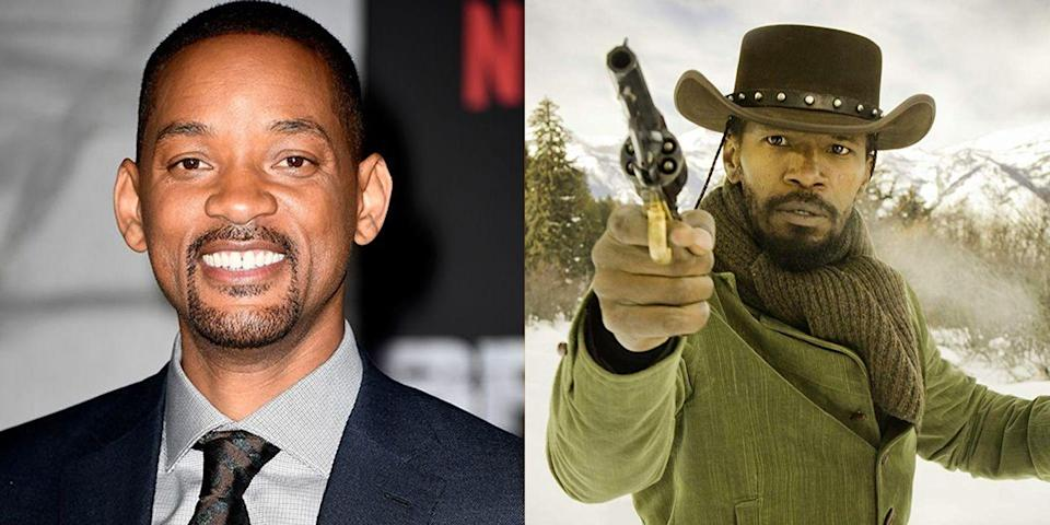 "<p>Will Smith reportedly turned down the role of Django in the Oscar-nominated <em>Django Unchained </em><a href=""https://www.hollywoodreporter.com/features/will-smith-mark-ruffalo-four-842621"" rel=""nofollow noopener"" target=""_blank"" data-ylk=""slk:due to &quot;creative differences.&quot;"" class=""link rapid-noclick-resp"">due to ""creative differences.""</a> The role ended up going to Jamie Foxx.</p>"
