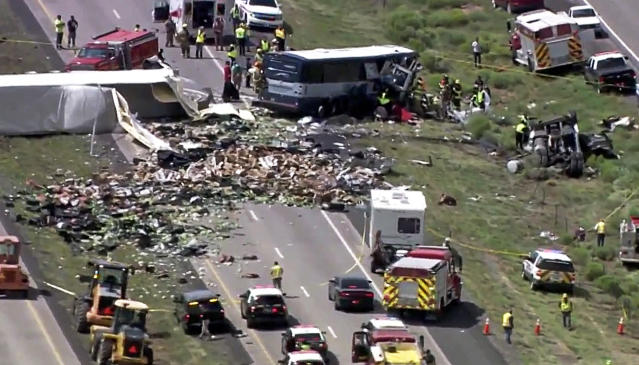 The devastating scene on Interstate 40, near the town of Thoreau, New Mexico (Associated Press)