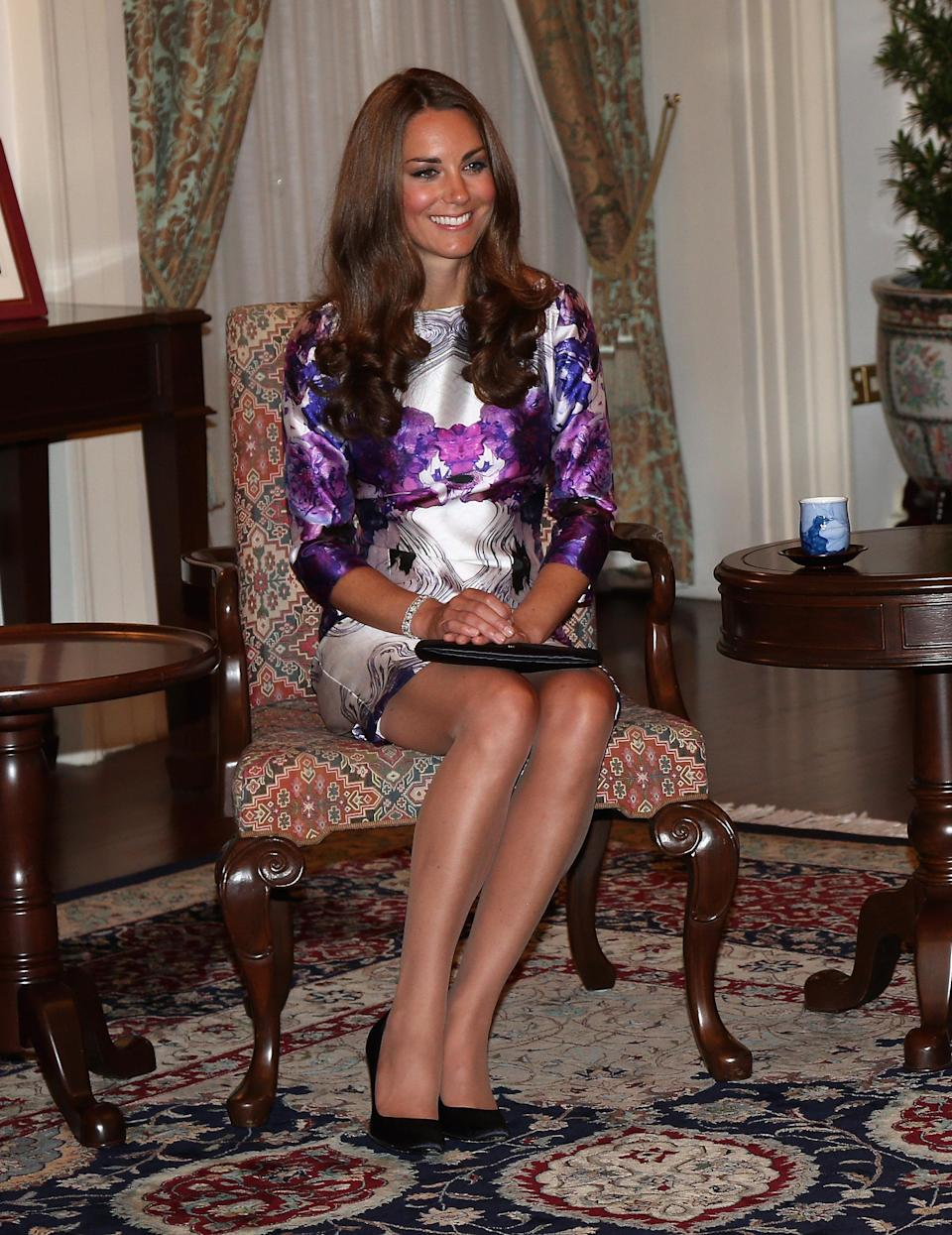The Duchess of Cambridge sat in the 'Duchess Slant' on September 11, 2012 [Photo: Getty]
