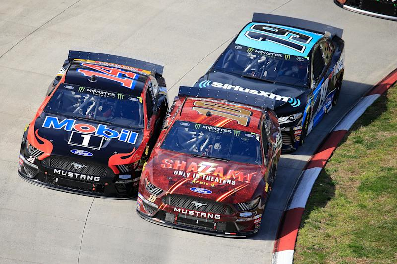 MARTINSVILLE, VA - MARCH 24: #10: Aric Almirola, SHR, Ford Mustang SHAZAM! / Smithfield battles #14: Clint Bowyer, SHR, Ford Mustang Mobil 1 / Rush Truck Centers during the 70th Annual running of the STP 500 Monster Energy NASCAR Cup Series race on March 24, 2019 at Martinsville Speedway in Martinsville, VA. (Photo by David J. Griffin/Icon Sportswire via Getty Images)