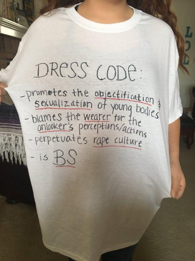 Snarky T-shirt with handwritten list of problems with dress codes.