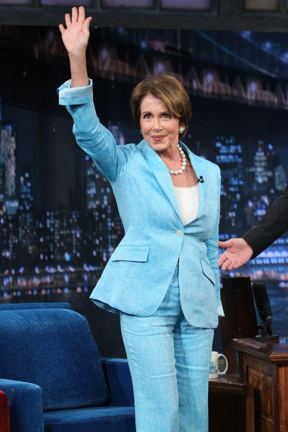 <p>Pelosi waves to the crowd during an appearance on <em>Late Night with Jimmy Fallon. </em> </p>