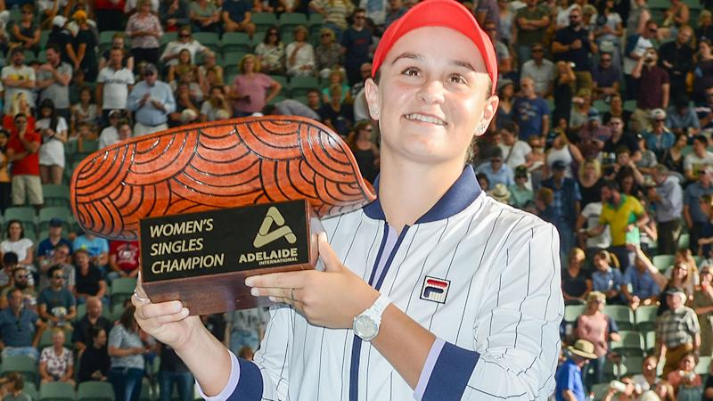 Ashleigh Barty, pictured here after winning the Adelaide International on Saturday.