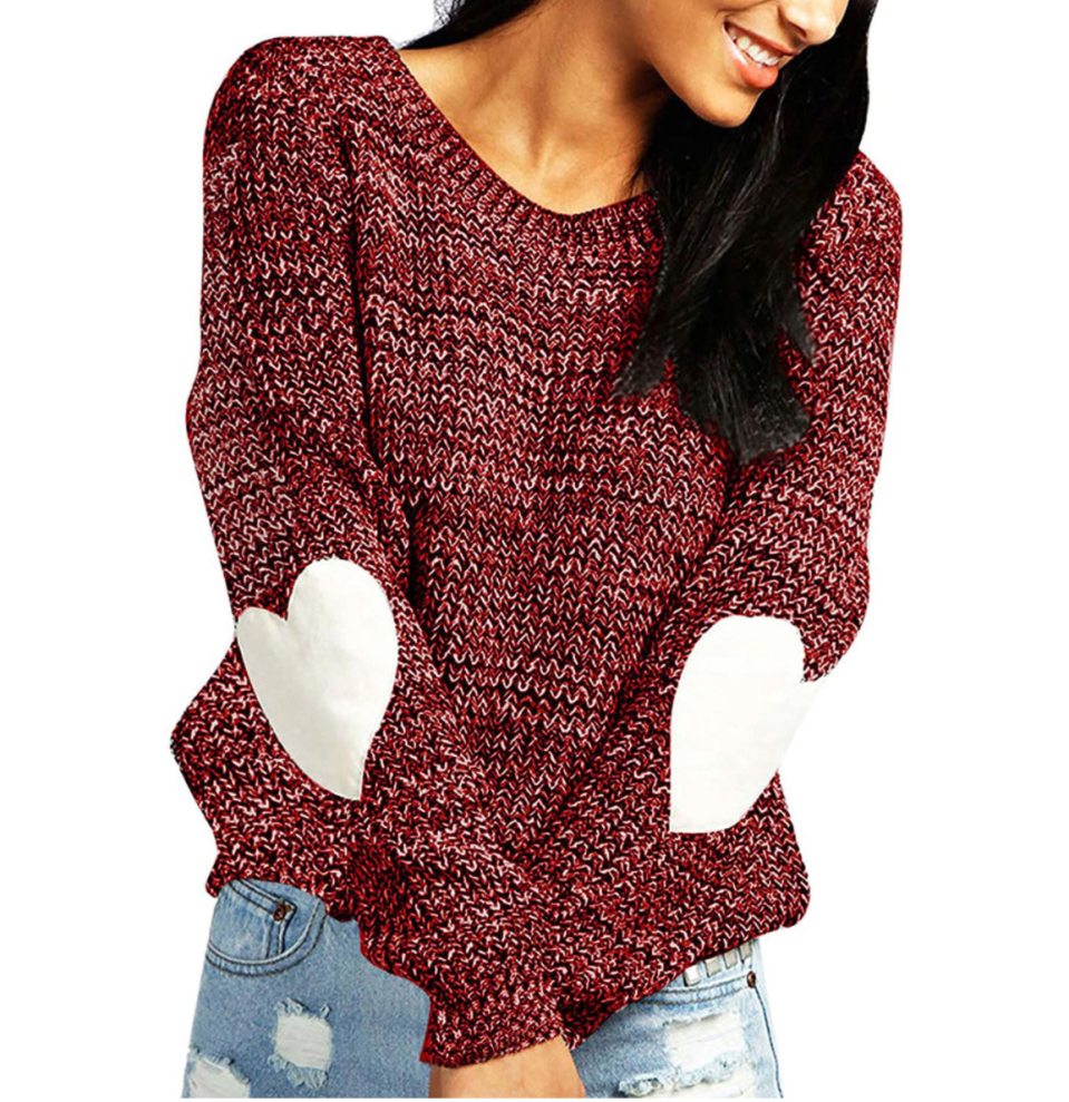Shermie Heart Pattern Sweater in Wine Red (Photo via Amazon)
