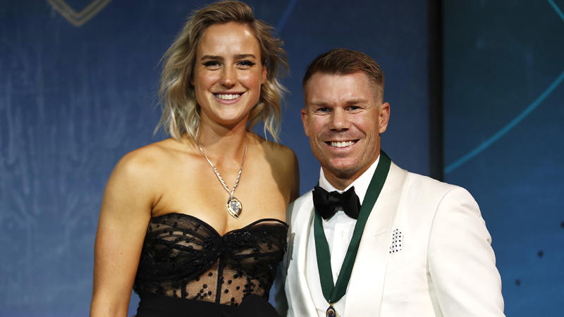 Ellyse Perry and David Warner, pictured here at the Australian Cricket Awards.