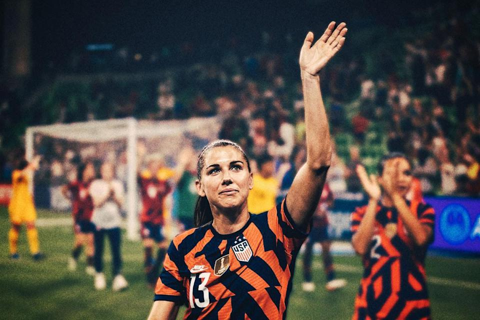 Alex Morgan of the USWNT waves to the crowd during a game between Nigeria and USWNT at Q2 Stadium on June 16, 2021 in Austin, Texas.
