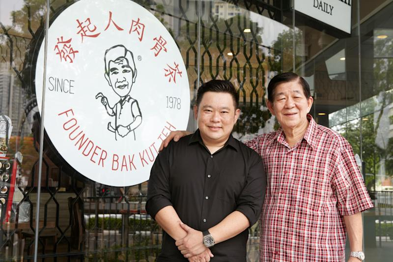 The father and son that manage the Founder Bak Kut Teh restaurants: founder Chua Chwee Whatt (right) and his son, Nigel Chua. (Photo: Founder Bak Kut Teh)