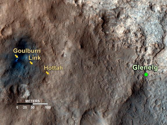 This map shows the path on Mars of NASA's Curiosity rover toward Glenelg, an area where three terrains of scientific interest converge. Arrows mark geological features encountered so far that led to the discovery of what appears to be an ancien