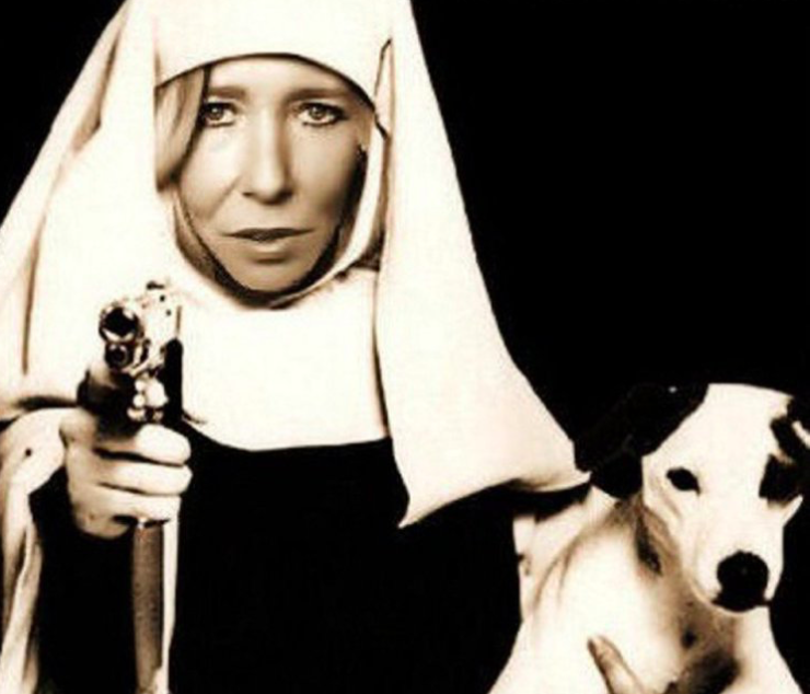 A photoshopped image of Sally-Anne Jones taken from her Twitter account dressed as a gun-toting nun (Twitter)