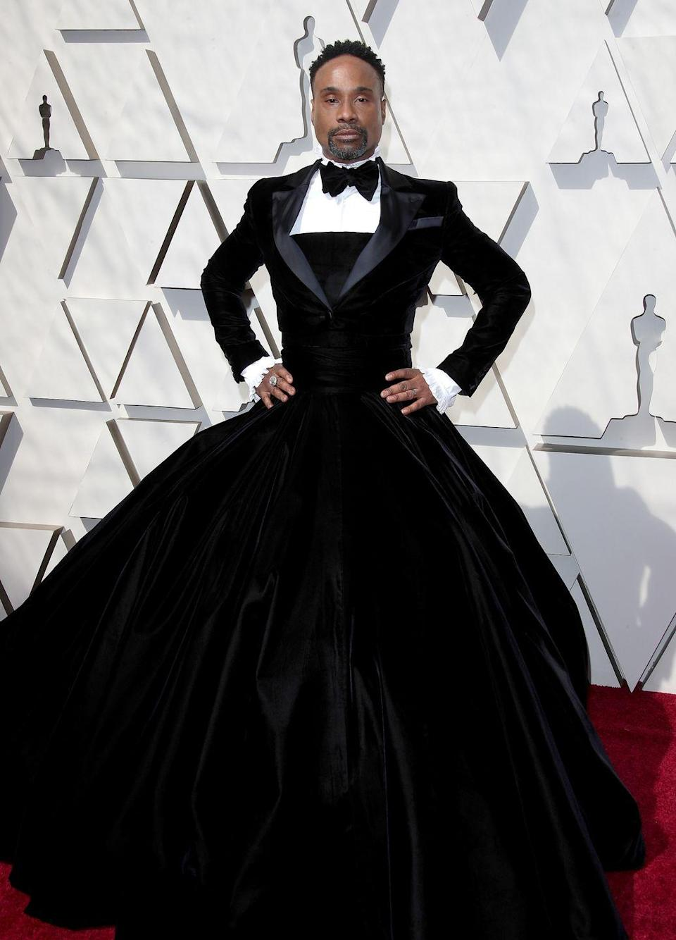 """<p><em>Pose</em> star Billy Porter turned heads when he arrived at the Academy Awards wearing this incredible Christian Siriano design. Speaking to <em>Vogue </em>about the dress, he said, """"My goal is to be a walking piece of political art every time I show up. To challenge expectations. What is masculinity? What does that mean? Women show up every day in pants, but the minute a man wears a dress, the seas part."""" </p>"""