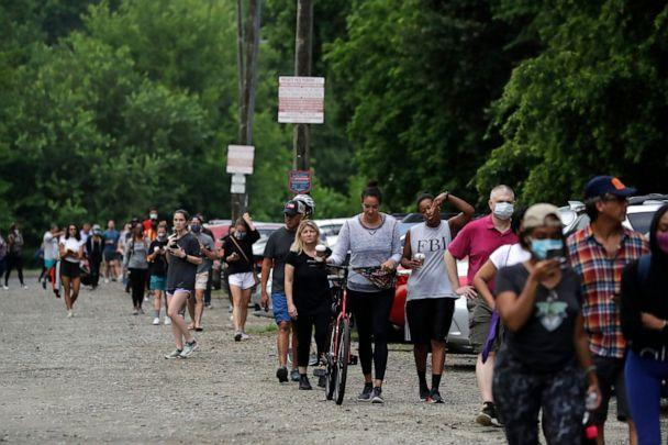 PHOTO: People wait in line to vote in the Georgia's primary election at Park Tavern on Tuesday, June 9, 2020, in Atlanta. (Brynn Anderson/AP, File)