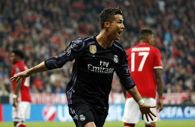 """<a class=""""link rapid-noclick-resp"""" href=""""/soccer/players/cristiano-ronaldo"""" data-ylk=""""slk:Cristiano Ronaldo"""">Cristiano Ronaldo</a> ended his Champions League goal drought, much to Bayern Munich's chagrin. (Getty)"""