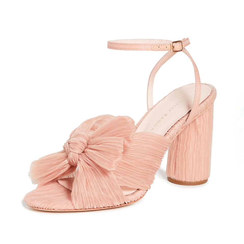 """You can't go wrong with a pair of Loeffler Randall sandals with a crinkled-tulle bow. They come in a variety of options and are comfortable enough to wear all day (and night) long. $395, Shopbop. <a href=""""https://www.shopbop.com/camellia-heeled-sandal-ankle-strap/vp/v=1/1555399515.htm"""" rel=""""nofollow noopener"""" target=""""_blank"""" data-ylk=""""slk:Get it now!"""" class=""""link rapid-noclick-resp"""">Get it now!</a>"""
