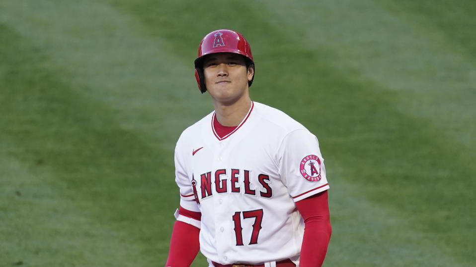 Los Angeles Angels designated hitter Shohei Ohtani (17) steps up to bat during a baseball game against the Oakland Athletics Friday, May 21, 2021, in Anaheim, Calif. (AP Photo/Ashley Landis)