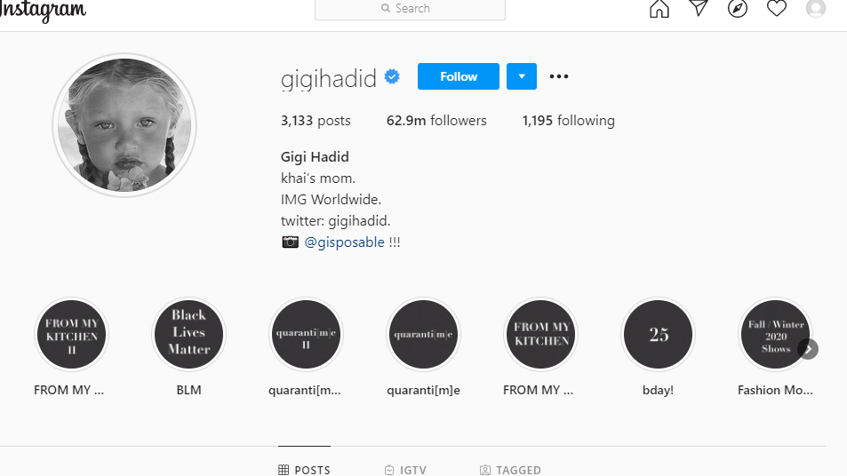 Screengrab of Gigi Hadid's Instagram