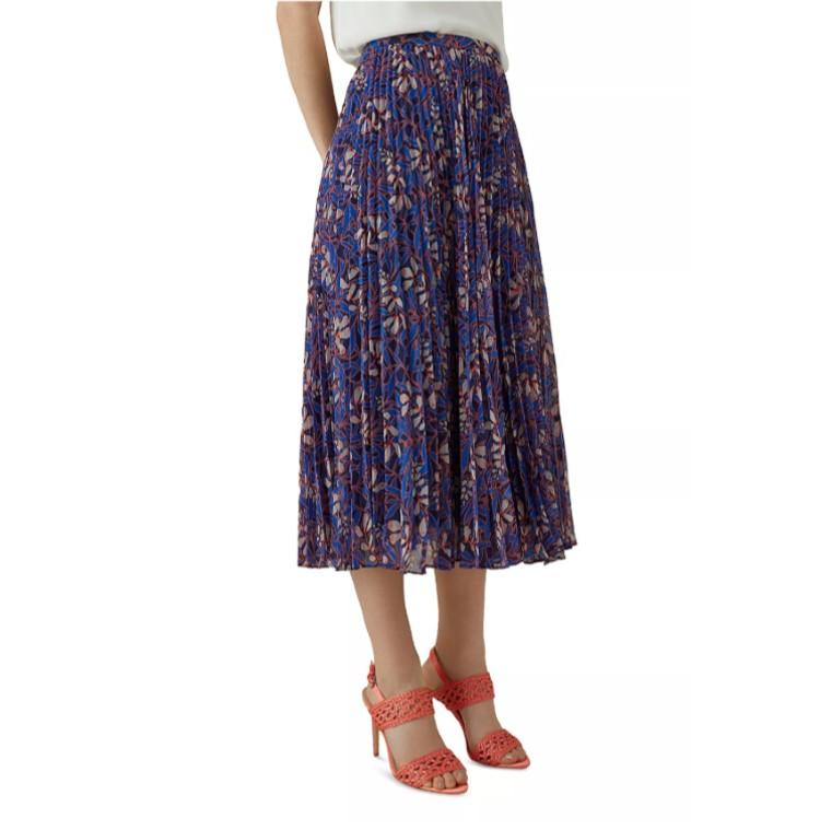 Karen Miller Pleated Botanical Silk Midi Skirt. (Photo: Bloomingdale's)