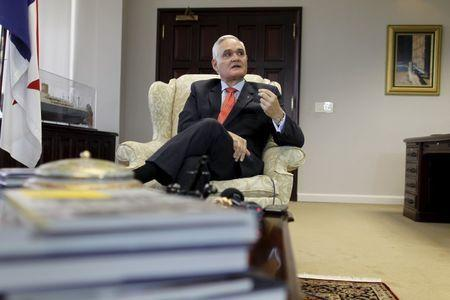 Panama Canal Administrator, Jorge Quijano gestures as he speaks during an interview with Reuters in Panama City March 24, 2015. REUTERS/Carlos Jasso