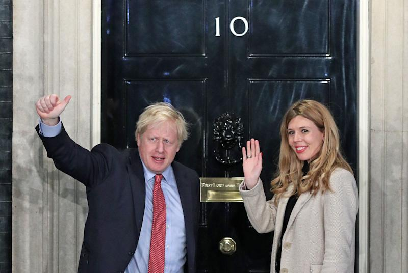 Boris Johnson and his girlfriend Carrie Symonds at Downing Street (Photo: Yui Mok - PA Images via Getty Images)