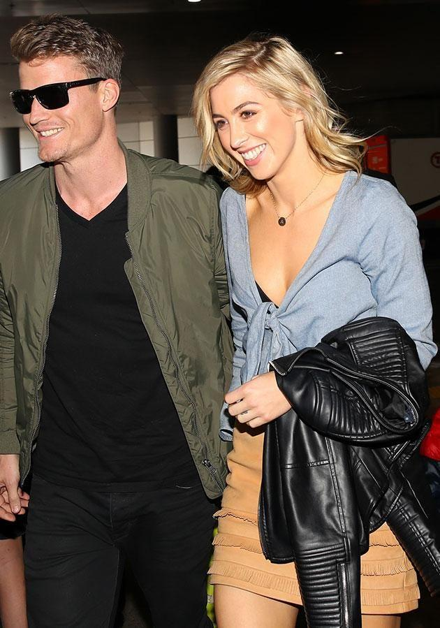 Alex and Richie made their public debut at Sydney airport today. Source: Matrix