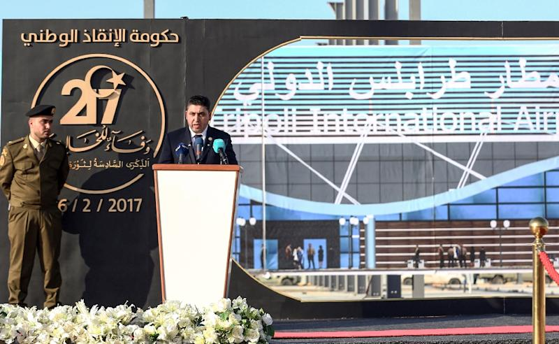 "Khalifa al-Ghweil, the leader of the self-proclaimed ""Government of National Salvation"", which refuses to recognise Libya's unity administration, gives a speech at Tripoli International Airport on February 16, 2017"