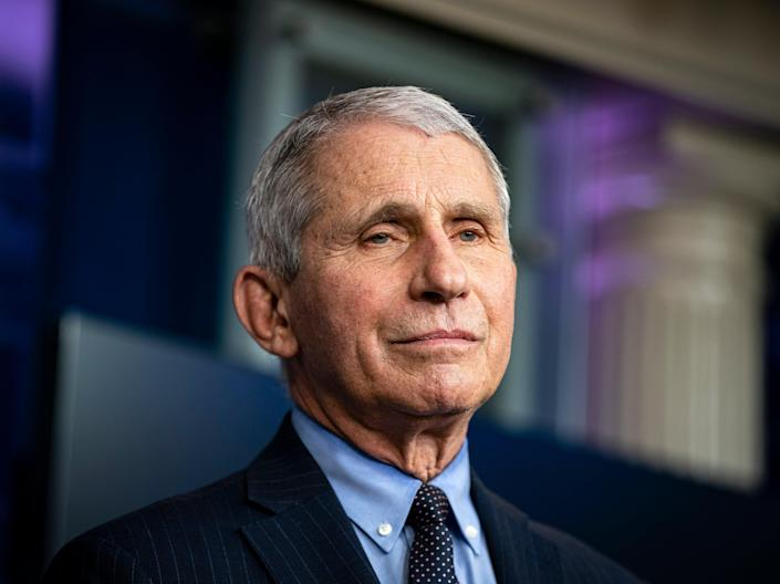 Anthony Fauci, director of the National Institute of Allergy and Infectious Diseases, listens during a news conference on 21 January 2021 (EPA)