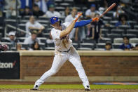 New York Mets' Pete Alonso strikes out swinging for the final out in a loss to the Chicago Cubs in a baseball game, Thursday, June 17, 2021, in New York. (AP Photo/Kathy Willens)