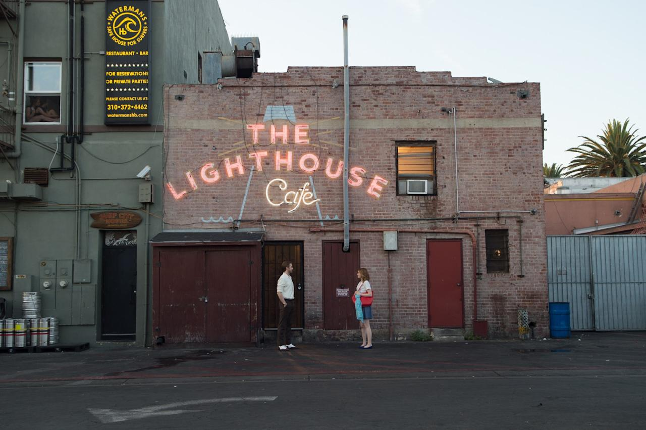 """<p><span>A jazz hotspot since 1949, </span><a rel=""""nofollow"""" href=""""http://www.thelighthousecafe.net/history.html""""><span>The Lighthouse Cafe</span></a><span> is naturally where Sebastian hangs out. Located in Hermosa Beach, it has hosted the lines of legendary jazz musicians like Miles Davis and Chet Baker, and the club now books all types of music - from jazz and reggae to rock'n'roll. [Photo: Dale Robinette / Lionsgate]</span> </p>"""