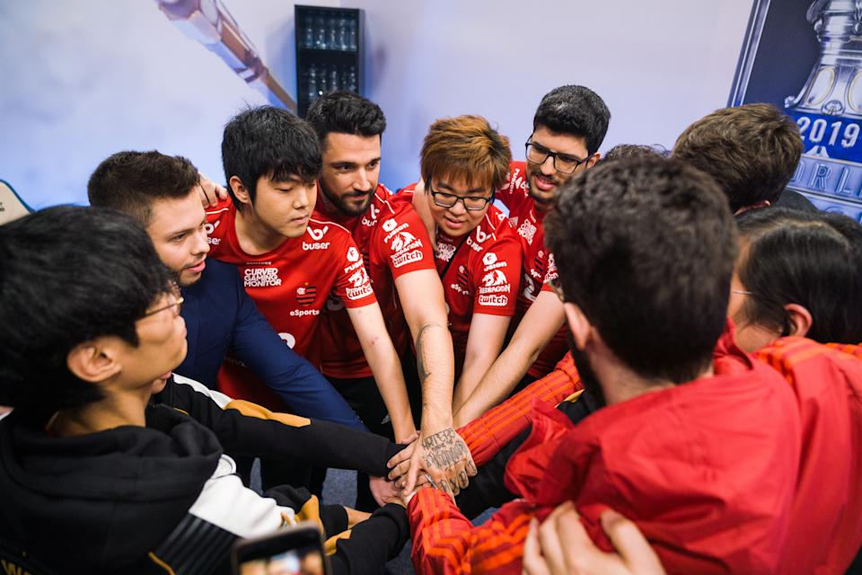 Time de LOL do Flamengo. Foto: Wojciech Wandzel/Riot Games Inc. via Getty Images