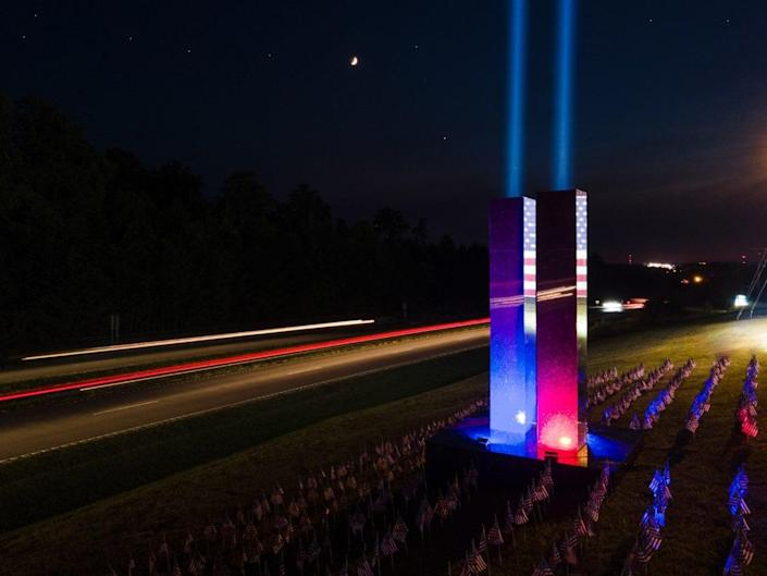 The 9/11 memorial at Upstate Granite Solutions in Greenville, South Carolina fully lit. (courtesy of Upstate Granite Solutions)