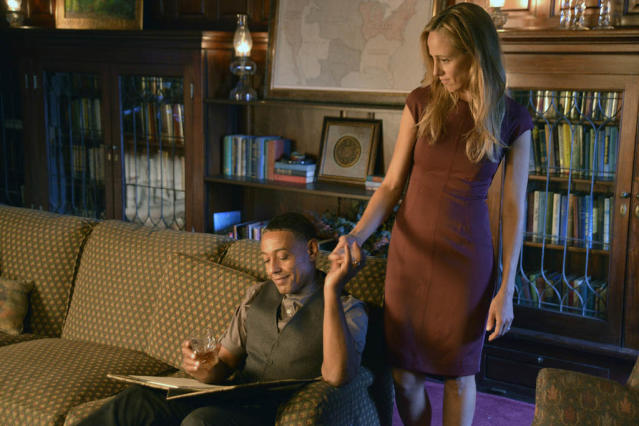 """Ties That Bind"" Episode 108 -- Pictured: (l-r) Giancarlo Esposito as Captain Tom Neville, Kim Raver as Julia"