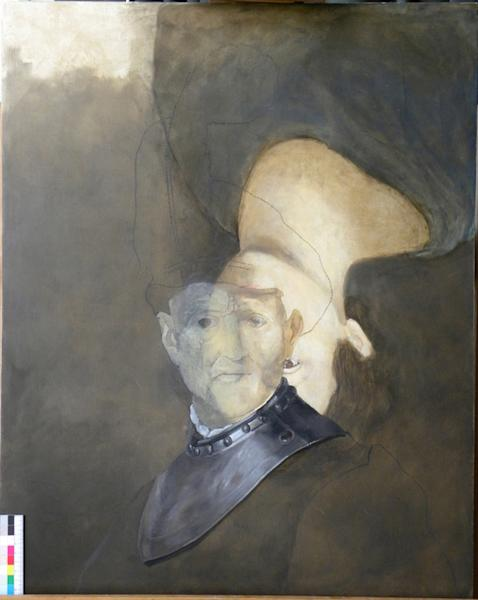 "Mock-up of Rembrandt's ""An old man in military costume"" with a portrait painted underneath the final work"