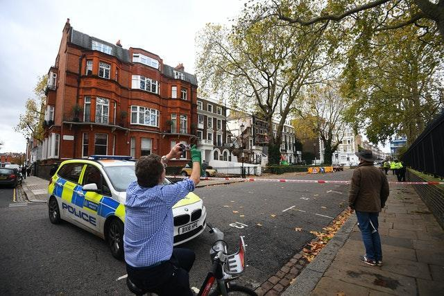 The scene in Durham Place in Chelsea, west London