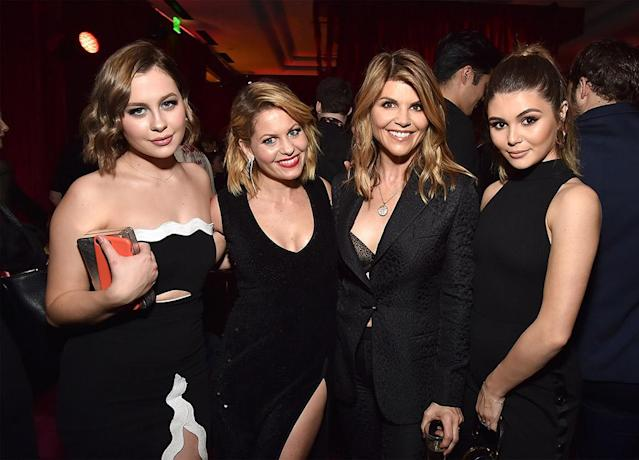 <p>Natasha Bure, Candice Cameron-Bure, Lori Loughlin, and Isabella Giannulli attend the Netflix Golden Globes after-party. (Photo: Kevin Mazur/Getty Images for Netflix) </p>