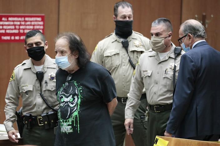 Los Angeles, CA, Tuesday, June 23, 2020 - Adult film star Ron Jeremy is charged with sexually assaulting four women in Dept. 30 at LA Superior Court. Attorney Stuart Goldfarb is at right. (POOL PHOTO/ Robert Gauthier / Los Angeles Times)