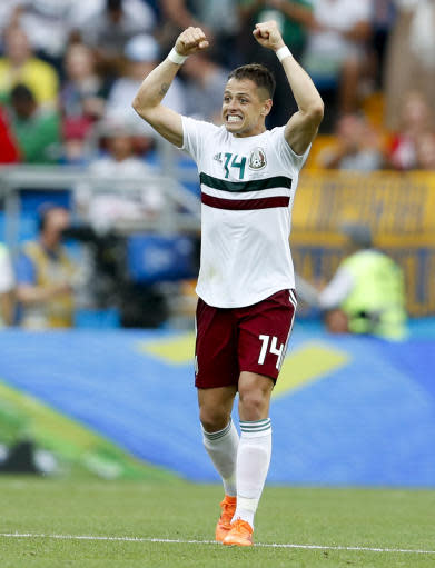 Mexico's Javier Hernandez celebrates after scoring his side's second goal during the group F match between Mexico and South Korea at the 2018 soccer World Cup in the Rostov Arena in Rostov-on-Don, Russia, Saturday, June 23, 2018. (AP Photo/Eduardo Verdugo)