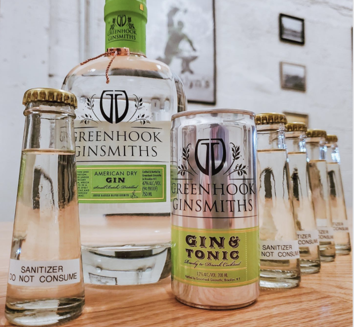 Greenhook Ginsmiths's gin products along with its newest line, hand sanitizer.