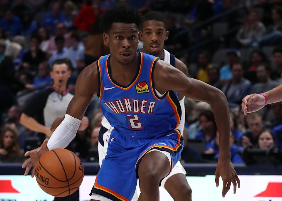 DALLAS, TEXAS - OCTOBER 14:  Shai Gilgeous-Alexander #2 of the Oklahoma City Thunder during a preseason game at American Airlines Center on October 14, 2019 in Dallas, Texas. (Photo by Ronald Martinez/Getty Images)