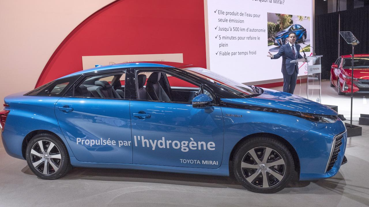 Toyota's Mirai hydrogen fuel cell cars will make their Canadian debut in Quebec this year. Provincial Energy Minister Pierre Moreau says two stations to produce and supply the fuel will open in the fall.