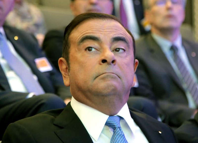 "Renault Group CEO Carlos Ghosn attend a media conference at La Defense business district, outside Paris, France, Friday, Oct. 6, 2017. French carmaker Renault says half of its models will be electric or hybrid by 2022 and it's investing heavily in ""robo-vehicles"" with increasing degrees of autonomy. (AP Photo/Michel Euler)"