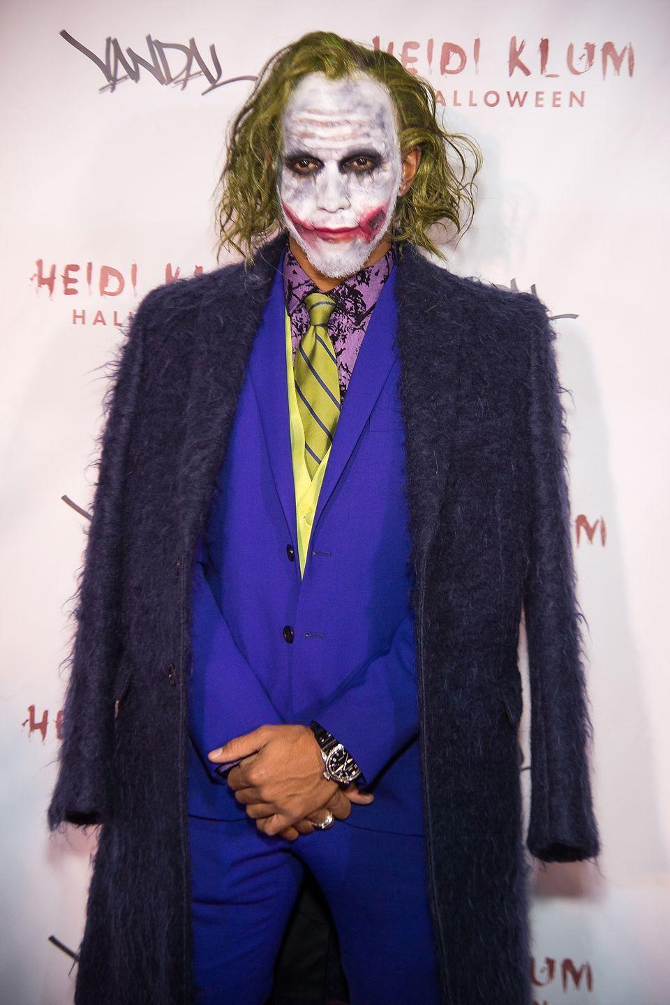 "<p>The world champion race car driver left the steering wheel to attend one of Heidi Klum's Halloween parties. His caption for a tweet about the event? <a href=""https://www.espn.com/f1/story/_/id/17942009/lewis-hamilton-becomes-joker-halloween"" rel=""nofollow noopener"" target=""_blank"" data-ylk=""slk:&quot;Why so serious?&quot;"" class=""link rapid-noclick-resp"">""Why so serious?""</a></p>"