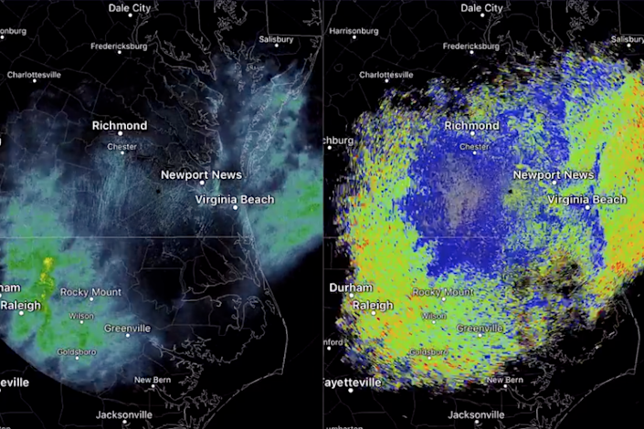 The satellite images appeared as rainclouds, but baffled meteorologists as no rainfall was recorded: NWS Wakefield/Twitter