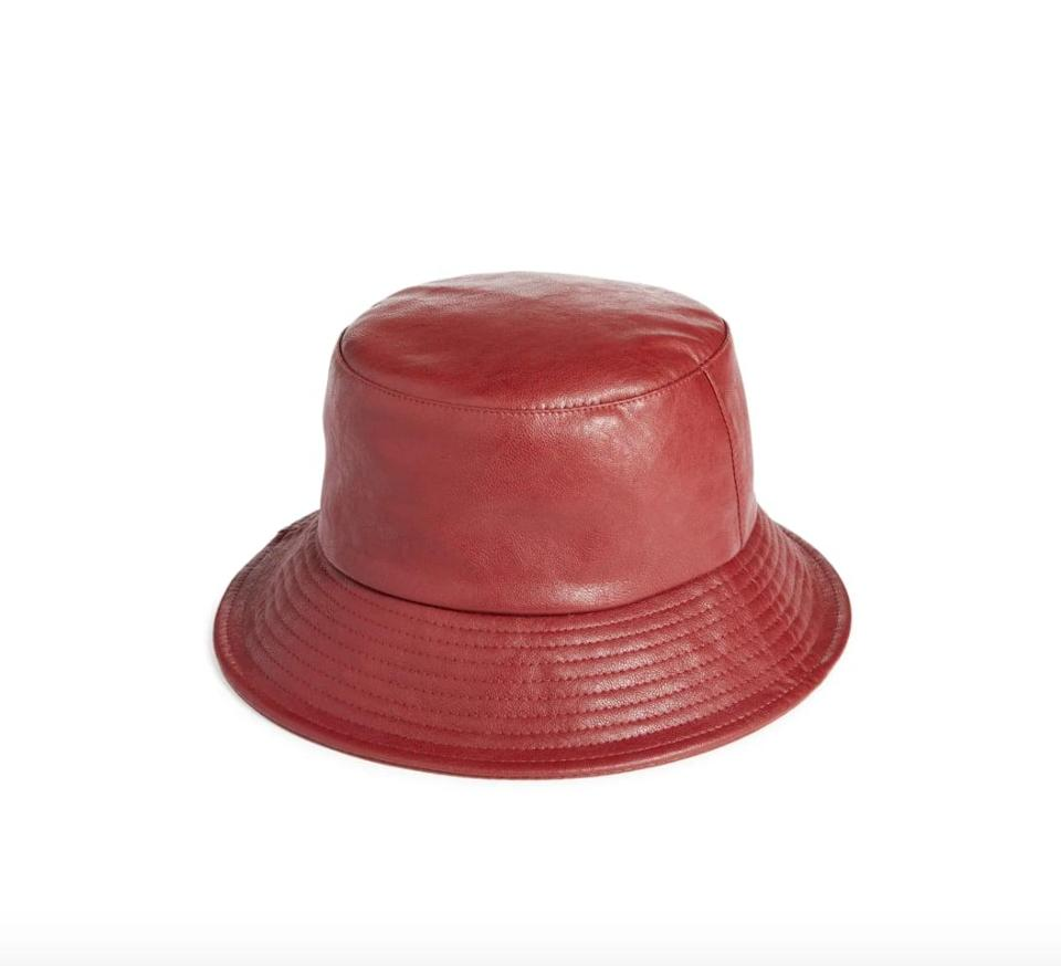 """<p>Give your bucket-hat obsession a fall-friendly flair with this <span>Open Edit Faux Leather Hat</span> ($29). This style has """"cool"""" written all over it.</p>"""