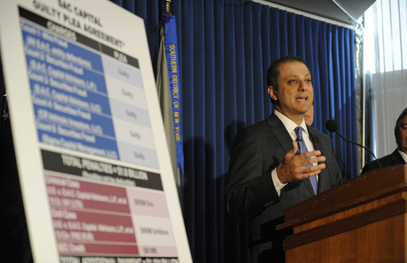 U.S. Attorney Preet Bharara speaks at a press conference, Monday, Nov. 4, 2013, in New York. Federal prosecutors in New York say hedge fund giant SAC Capital Advisors has agreed to plead guilty to fraud charges and to pay a $1.8 billion financial penalty.. (AP Photo/ Louis Lanzano)