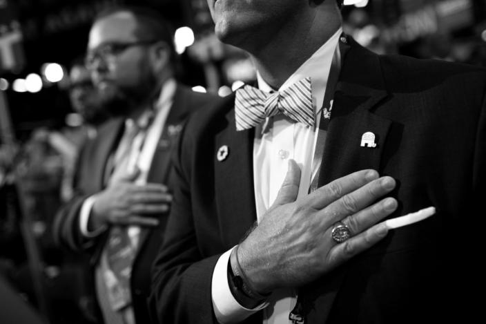 <p>Delegates during the opening of the evening session of the Republican National Convention. (Photo: Khue Bui for Yahoo News)</p>