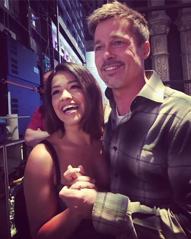 "<p>The <em>Jane the Virgin</em> star and Brad Pitt make a cute couple, no? The two were all smiles while posing backstage at <em>The Late Show With Stephen Colbert</em>. ""Prom Pic with Brad Pitt,"" bragged Rodriguez. ""No biggie.""(Photo: <a href=""https://www.instagram.com/p/BUKq3H2g4AB/"" rel=""nofollow noopener"" target=""_blank"" data-ylk=""slk:Gina Rodriguez via Instagram"" class=""link rapid-noclick-resp"">Gina Rodriguez via Instagram</a>) </p>"