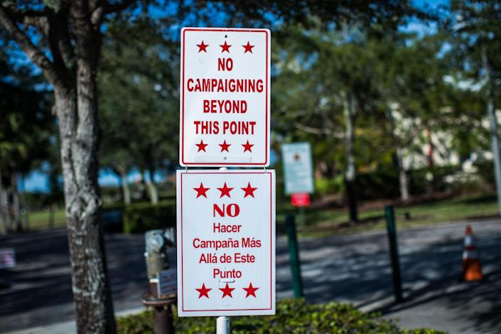 <p>Campaign boundary sings placed outside of the early voting polling station Parkland Rec Center Marjory Stoneman Douglas High School students vote for the first time in the mid term elections, Parkland, Fla., Nov. 1, 2018. (Photo by Ian Witlen/REX/Shutterstock) </p>